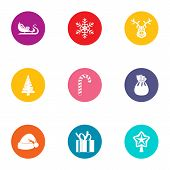 Yule Icons Set. Flat Set Of 9 Yule Icons For Web Isolated On White Background poster