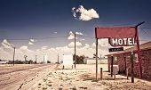 stock photo of motel  - Old motel sign on Route 66 - JPG