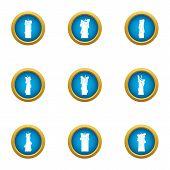 Sunray Icons Set. Flat Set Of 9 Sunray Icons For Web Isolated On White Background poster