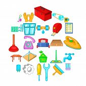 Apartment Renovation Icons Set. Cartoon Set Of 25 Apartment Renovation Icons For Web Isolated On Whi poster
