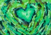 A Painting Of Green Heart, Valentine Heart On Canvas.colorful Abstract. Oil Painting On Canvas. poster