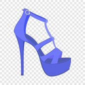 Blue Woman Sandal Icon. Flat Illustration Of Blue Woman Sandal Icon For Web Design poster