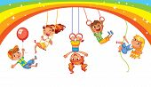 Children Have Fun On The Rides. Amusement Park. Playground. Kid Weighs On The Rings Upside Down. Cli poster