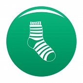 Fuzzy Sock Icon. Simple Illustration Of Fuzzy Sock Icon For Any Design Green poster