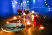 Valentines Dinner Romantic Love Concept Romantic Table Setting Decorated With Fork Spoon On Plate An poster