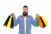 Choosing The Best. Black Friday. Cyber Monday. Bearded Man With Shopping Bags.. Shopping Sale. Male  poster