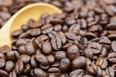Coffee Beans Texture Or Coffee Beans Background. Brown Roasted Coffee Beans. Closeup Shot Of Coffee  poster