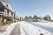 Wooden houses in Marken in winter in the Netherlands