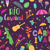 Brazilian Carnival Seamless Pattern. Brazil Samba Carnival Background With Toucan And Tropical Eleme poster