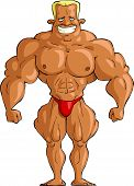 pic of muscle man  - Bodybuilder on a white background vector illustration - JPG