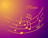Music Notation With Lines And Notes Sounds, Text Signs Vector. Tune Playing, Organized Tablature Wit poster