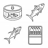 Tuna Icon Set. Outline Set Of Tuna Vector Icons For Web Design Isolated On White Background poster