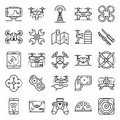 Drone Icon Set. Outline Set Of Drone Vector Icons For Web Design Isolated On White Background poster