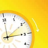 Summer Time Yellow Clock Standard Time After Advancing For Daylight Saving Time Vector Illustration  poster