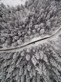 Winter Aerial View Of Road In Forest. poster