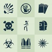 Protection Icons Set With Explosive, Caution, Hand Protection Nuclear Elements. Isolated Vector Illu poster