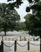 Washington Monument And Arlington Cemetery poster