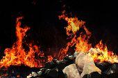 Burn A Lot Of Waste Plastic Garbage, Garbage Bin Pile Dump Lots Of Junk Polluting With Plastic Burni poster