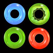 Swim Rings Set On Black Background. Inflatable Rubber Toy. Lifebuoy Colorful Vector Collection. Summ poster