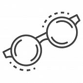 Round Glasses Icon. Outline Round Glasses Icon For Web Design Isolated On White Background poster