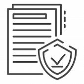 Secured Doc Paper Icon. Outline Secured Doc Paper Icon For Web Design Isolated On White Background poster
