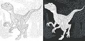 Coloring Page. Dinosaur Collection. Colouring Picture With Raptor Drawn In Zentangle Style. poster
