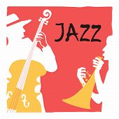 Jazz Music Festival Poster With Trumpet And Contrabass Flat Vector Illustration. Music Background Wi poster