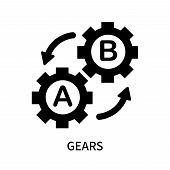 Gears Icon Isolated On White Background. Gears Icon Simple Sign. Gears Icon Trendy And Modern Symbol poster