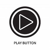 Play Button Icon Isolated On White Background. Play Button Icon Simple Sign. Play Button Icon Trendy poster