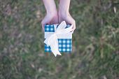 A Woman Holds A Blue Giftbox With Hands On A Turf Background. poster