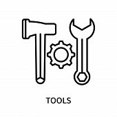 Tools Icon Isolated On White Background. Tools Icon Simple Sign. Tools Icon Trendy And Modern Symbol poster