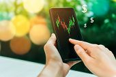 Market Stock Graph Icon Screen Of Smartphone Background. Financial Business Technology Freedom Dream poster
