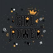 Girl Power With Crown Lettering With On Gray Background. Woman Motivational Slogan And Phrase. Femin poster