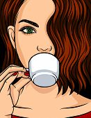 Color Vector Illustration Of A Portrait Of A Beautiful Girl. The Face Of A Young Girl With Brunette  poster