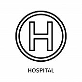 Hospital Icon Isolated On White Background. Hospital Icon Simple Sign. Hospital Icon Trendy And Mode poster