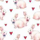 Lovely Pink Animation Rabbit Bunny Hare With A Bow In Love Is Isolated On A White Background. Childr poster