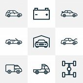 Automobile Icons Line Style Set With Wheelbase, Battery, Cabriolet And Other Truck  Elements. Isolat poster