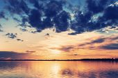 Bright Beautiful Landscape. Landscape With Colorful Dramatic Sunset Over The Lake poster