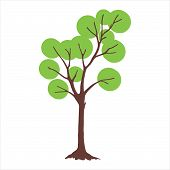 Tree With Circle Green Leaves. Tree Icon Isolated On White Background. Tree Icon Simple Sign. Tree I poster