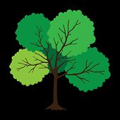 Tree With Green Leaves On Black Background. Vector Tree Icon. Tree Forest, Leaf Tree Isolated, Tree  poster