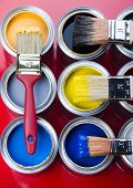pic of paint brush  - Paint brush and cans - JPG