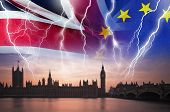 No Deal Brexit Concept Image Of Lightning Over London And Uk And Eu Flags Symbolising Destruction Of poster