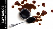 Soy Sauce. Splash Of Soy Sauce Isolated On White Background With Clipping Path. Top View poster