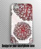 Stylish Beautiful Case For A Mobile Smartphone - Stylish Design Botany Style With Red Chrysanthemums poster