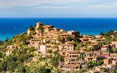 Old Mediterranean Village Deia At The Coast In The Mountains Of Majorca Island, Mediterranean Sea Sp poster