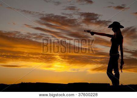 Silhouette der Frau Punkt Gewehr