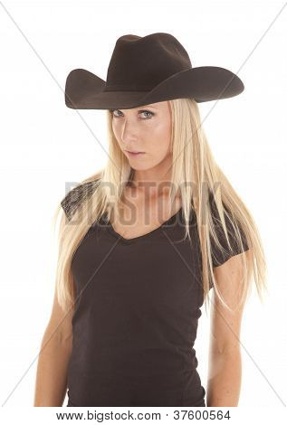 Cowgirl Black Hat Looking