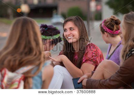 Teenage European Girl With Friends