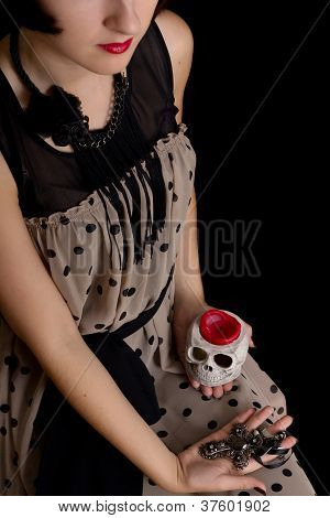 Halloween Witch With A Skull And Cross