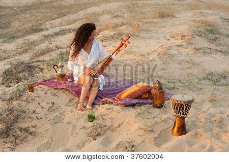 Woman Wiht Sitar
